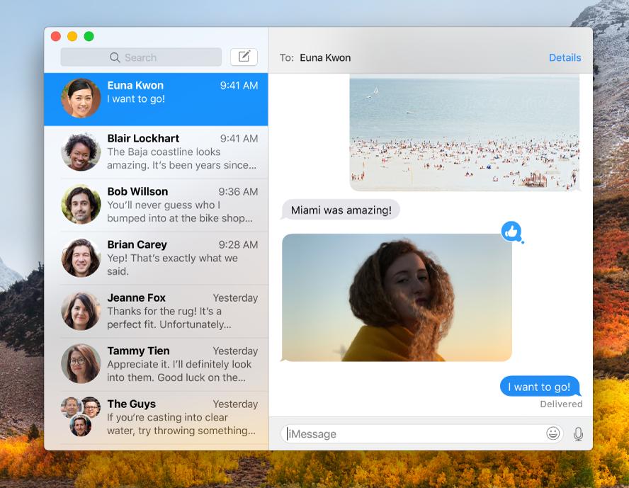 Okno aplikacji Wiadomości zkilkoma rozmowami widocznymi na pasku bocznym po lewej oraz rozmową wyświetlaną po prawej.