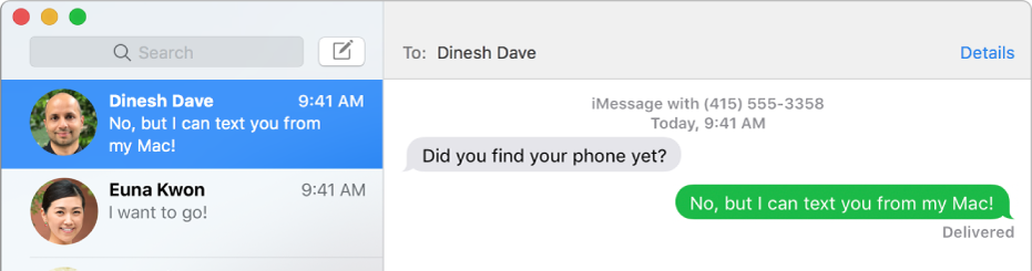 A janela da aplicação Mensagens com duas conversas listadas na barra lateral à esquerda e uma conversa apresentada à direita. Uma das mensagens tem a cor verde, o que indica que foi enviada como SMS.