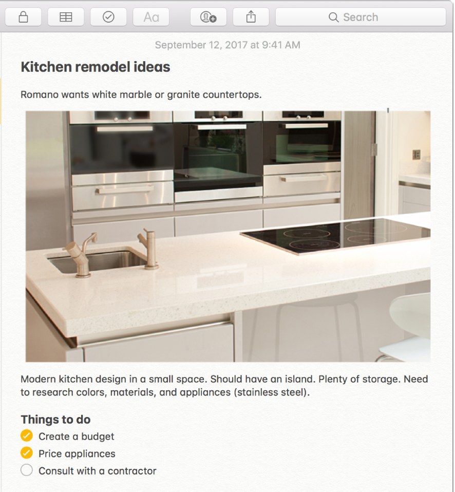 A note that includes a photo of a kitchen, a description of kitchen remodel ideas, and a checklist of things to do.
