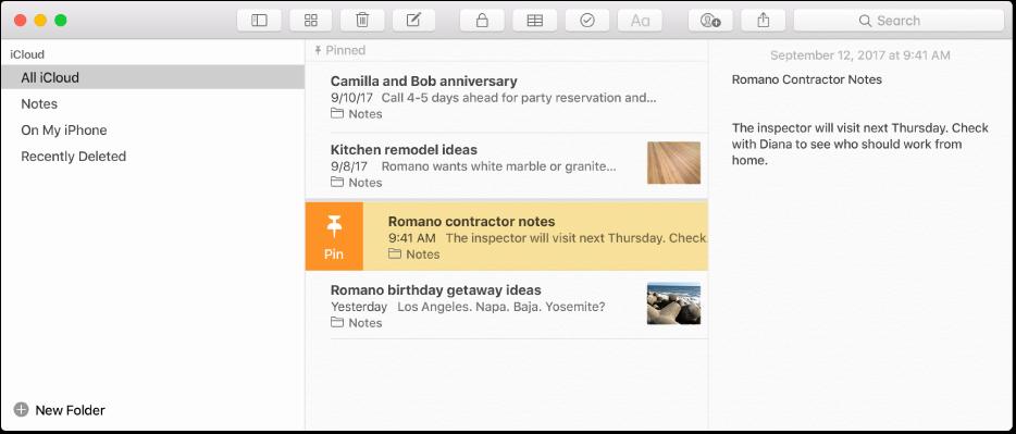 Fereastra Notițe cu bara laterală pe stânga, lista de notițe pe mijloc și conținutul notiței în dreapta.