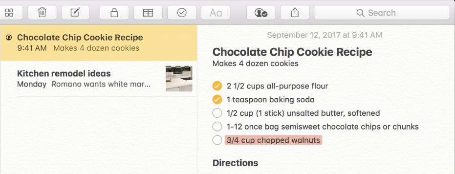 O notiță cu o rețetă de fursecuri cu ciocolată. O pictogramă Persoane la stânga numelui notiței în lista de notițe indică faptul că persoanele au fost adăugate la notiță pentru colaborare.