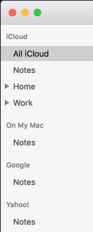 Lista de conturi în Notițe, afișând conturile iCloud, Pe Mac-ul meu și altele, cum ar fi Google și Yahoo.