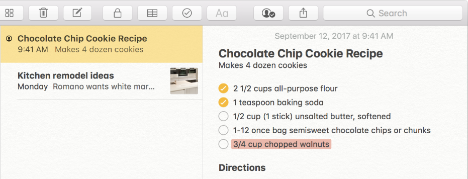 带有巧克力曲奇饼干配方的备忘录。 备忘录列表中备忘录名称左侧的联系人图标表示联系人已添加到备忘录进行协作。
