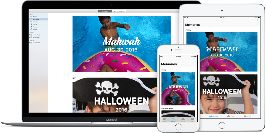 أجهزة Mac، و iPhone، وiPad تم إعدادها لاستخدام مكتبة صور iCloud، مع ظهور نفس مجموعة الصور على كل جهاز.
