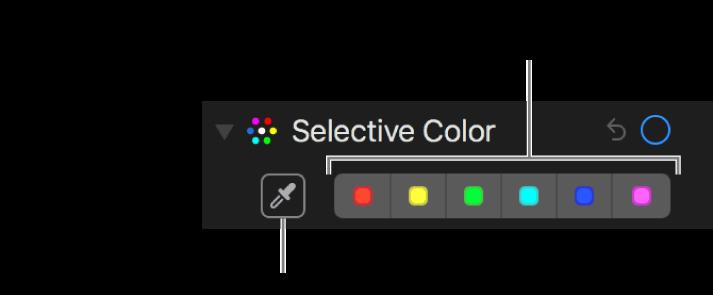 عناصر التحكم في اللون الانتقائي يظهر بها زر قطارة العين وعلب الألوان.