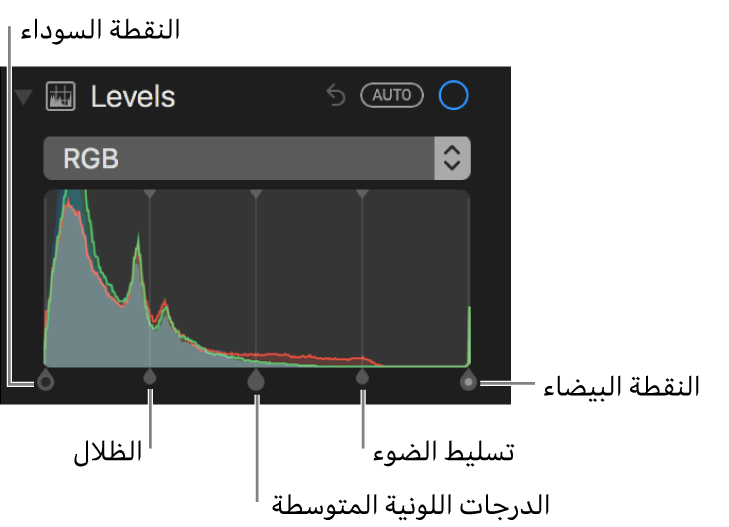 عناصر التحكم في المستويات على طول مدرج RGB التكراري، وتشمل (من اليمين إلى اليسار) النقطة السوداء، والظلال، والدرجات اللونية المتوسطة، والتمييزات، والنقطة البيضاء.