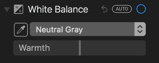 عناصر التحكم في توازن اللون الأبيض في جزء ضبط.