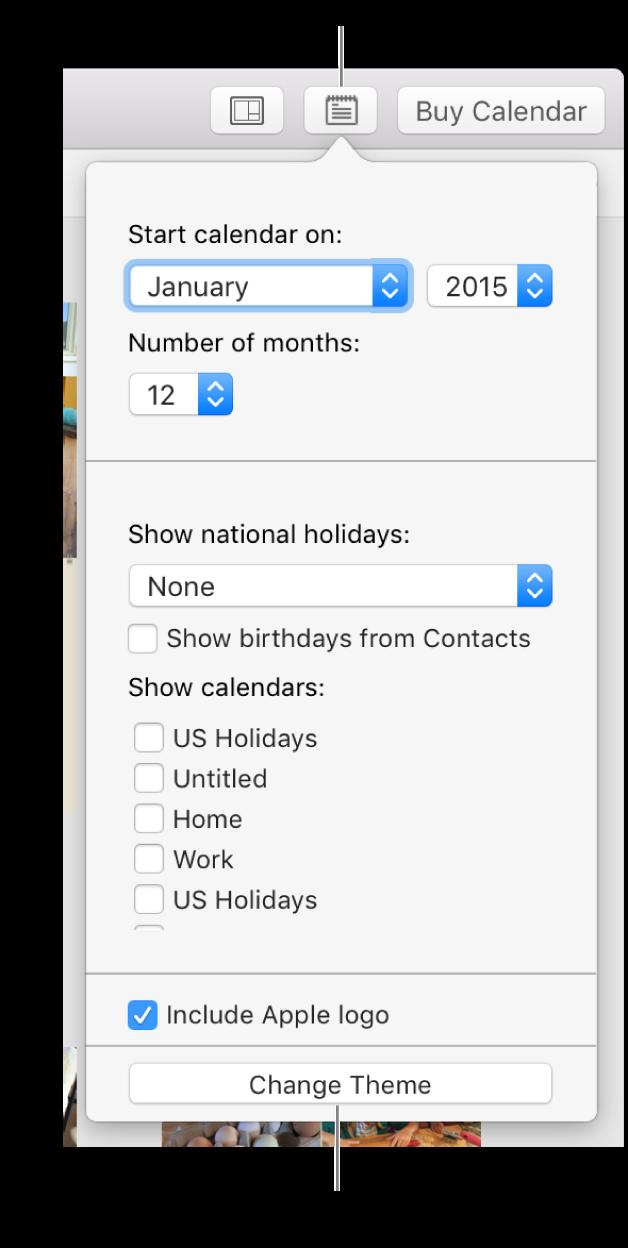 خيارات إعدادات التقويم مع زر تغيير السمة في الأسفل.