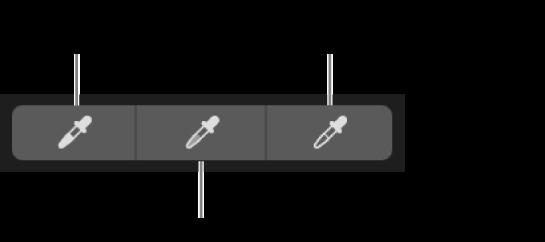 Tre pipetter, der bruges til at vælge fotografiets sortpunkt, mellemtoner og hvidpunkt.