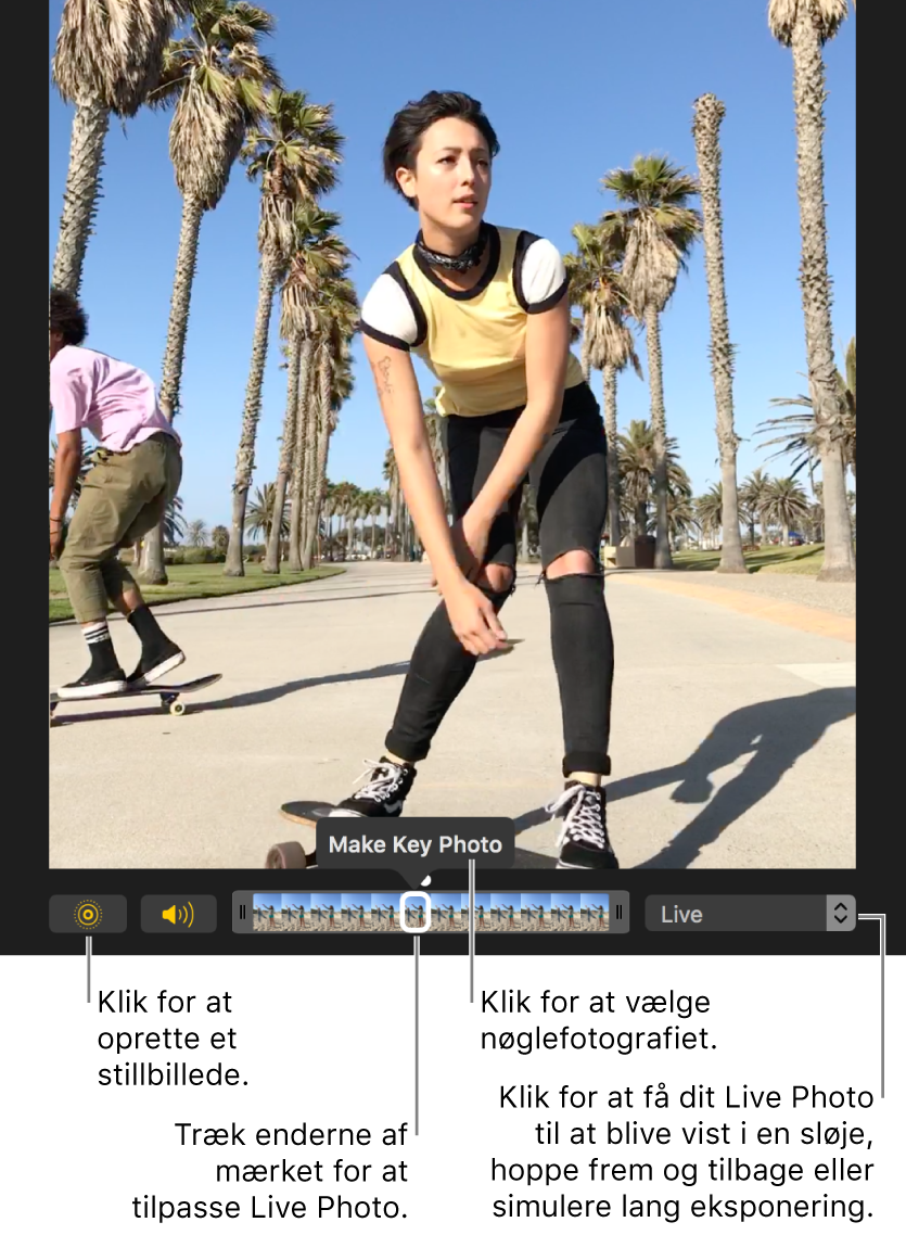 Et Live Photo i redigeringsoversigten med et mærke under, der viser fotografiets billeder. Knappen Live Photo og knappen Højttaler vises til venstre for mærket, og til højre vises en lokalmenu, du kan bruge til at tilføje en sløjfe, et hop eller en lang eksponering.