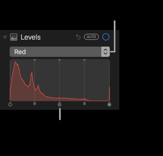 Betjeningsmuligheder til niveau og histogram til ændring af røde toner på et fotografi.