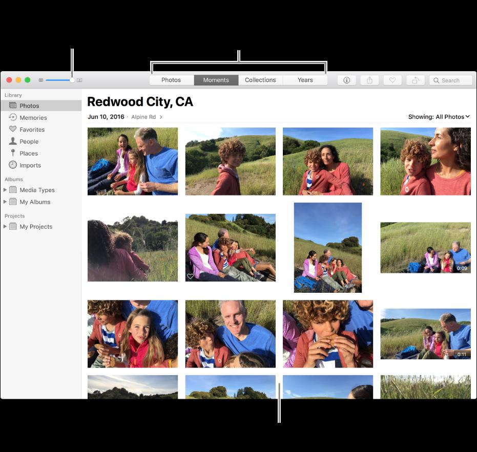 Fotos-vindue, der viser fotografier i et øjeblik.