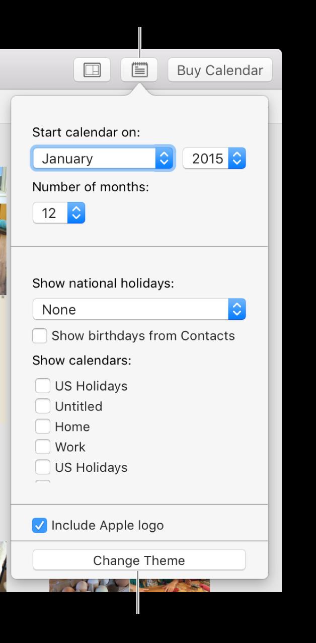Kalenderindstillinger med knappen Skift tema nederst.