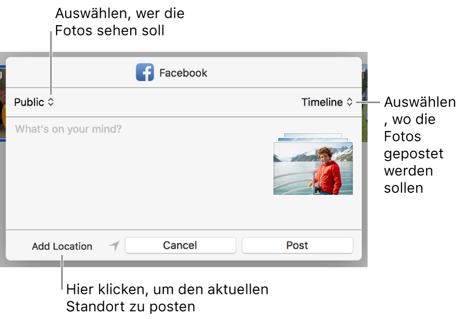 Dialogfenster zum Teilen auf Facebook