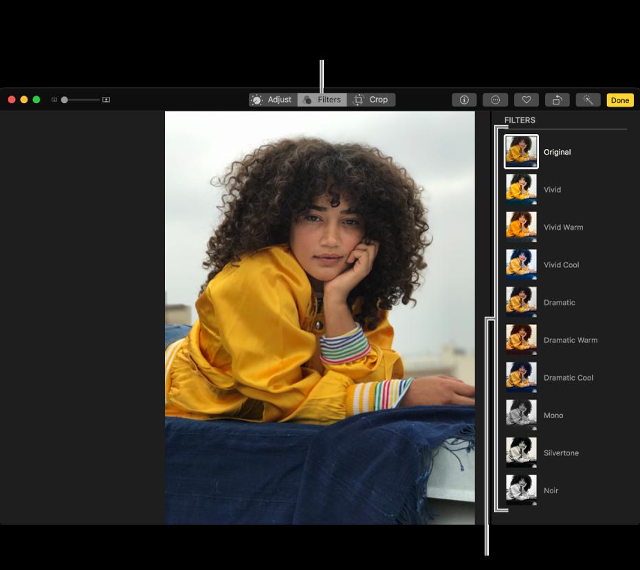 Foto in der Bearbeitungsansicht mit den Filtern auf der rechten Seite