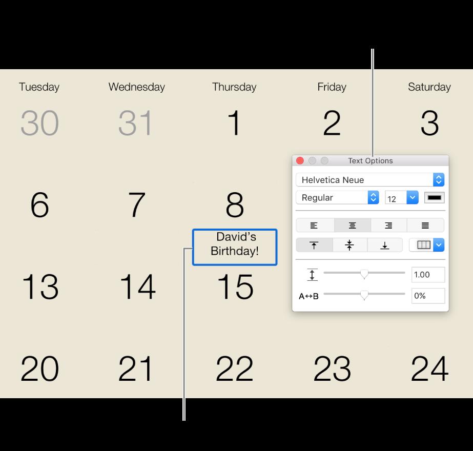 """Ein Kalenderdatum mit hinzugefügtem Text und dem Fenster """"Textoptionen"""" rechts"""