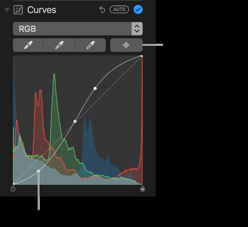 Kurvensteuerungen und Taste zum Hinzufügen von Punkten oben rechts