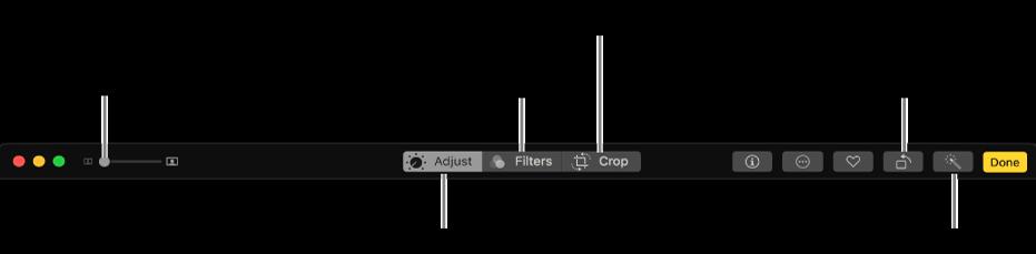 Symbolleiste zum Bearbeiten mit Tasten zum Anzeigen der Änderungen, für Filter und Beschneidungsoptionen
