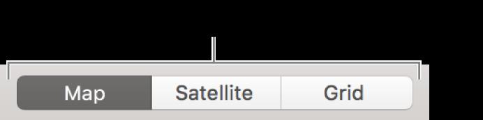 """Tasten """"Karte"""", """"Satellit"""" und """"Gitter"""