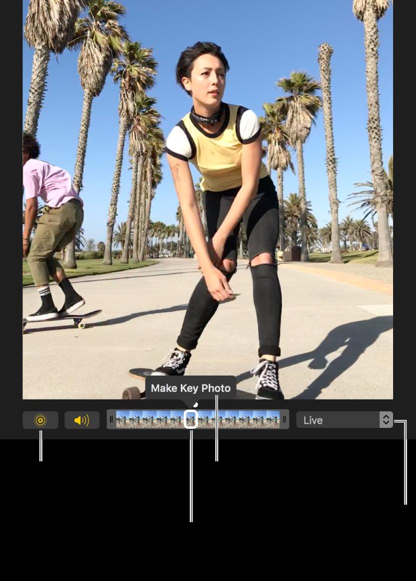 """Ein Live Photo in der Bearbeitungsansicht mit einem Schieberegler darunter, der die Bilder des Fotos zeigt Die Tasten """"Live Photo"""" und """"Lautsprecher"""" links neben dem Regler und einem Einblendmenü rechts, aus dem Effekte für Endlosschleifen, Abpraller und Langzeitbelichtungen hinzugefügt werden können"""