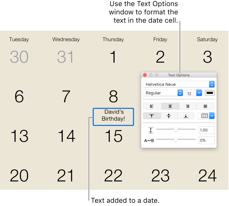A calendar date with text added to it, and the Text Options window on the right.