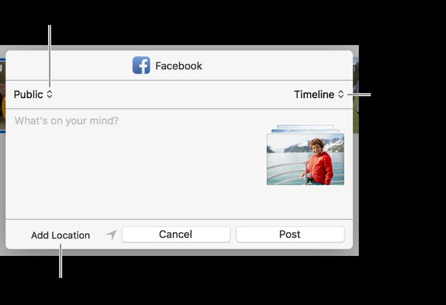 Facebook sharing dialog.