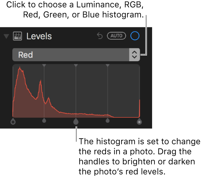 Level controls and histogram for changing reds in a photo.