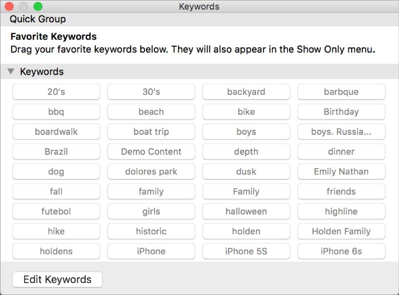 Keyword Manager window