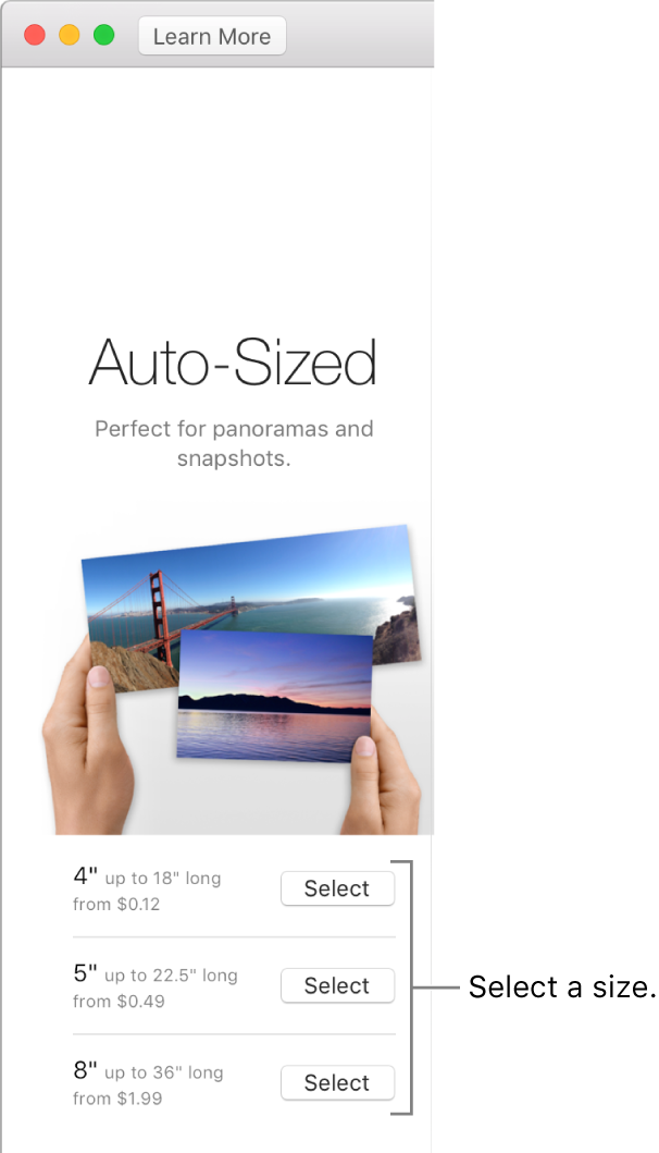 Window showing size options for Auto-Sized print format.