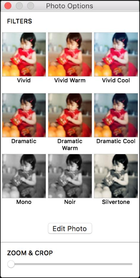 """Ventana """"Opciones de foto"""" con las opciones de borde en la parte superior."""