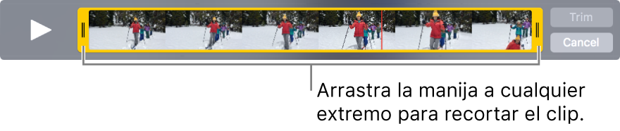 Manijas amarillas de cortado en un video
