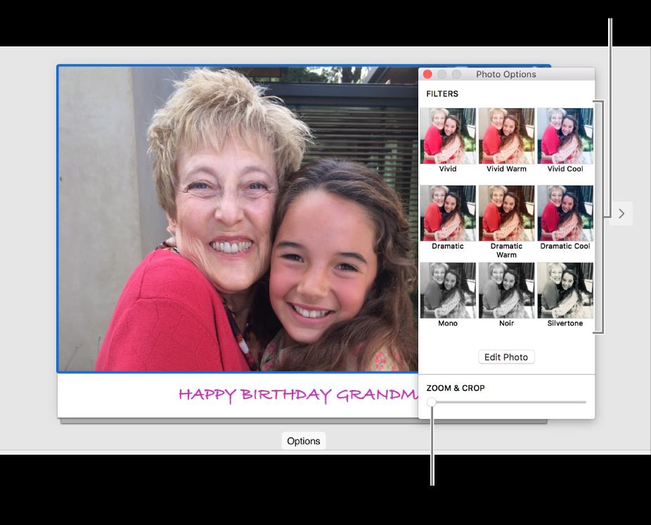 """Ventana """"Opciones de foto"""" para una tarjeta, mostrando el regulador """"Zoom y recortado"""" en la parte inferior y las opciones de efectos en la parte superior."""