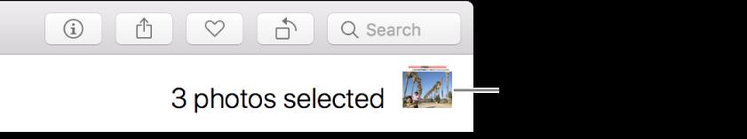 El indicador de selección mostrando que se seleccionaron tres fotos.