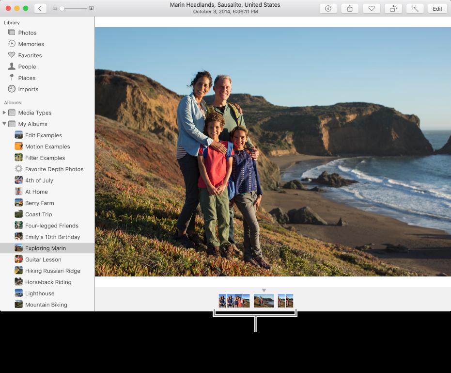 Ventana de Fotos con fotos del mismo álbum o colección debajo de una foto.