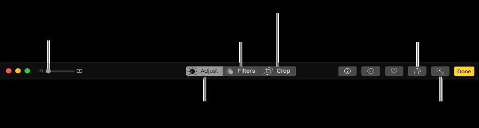 Barra de herramientas de edición con botones para mostrar ajustes, filtros y opciones de recorte.