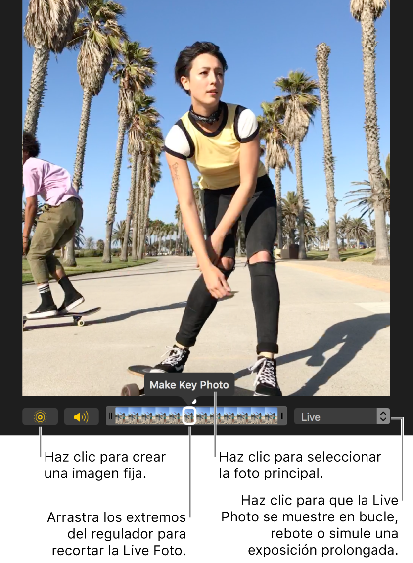 """Una Live Photo en la vista de edición con un regulador debajo de ella que muestra los fotogramas de la foto. El botón """"Live Photo"""" y el botón Altavoz se encuentran a la izquierda del regulador, y a la derecha hay un menú desplegable que puedes utilizar para añadir un efecto de bucle, de rebote o de larga exposición."""