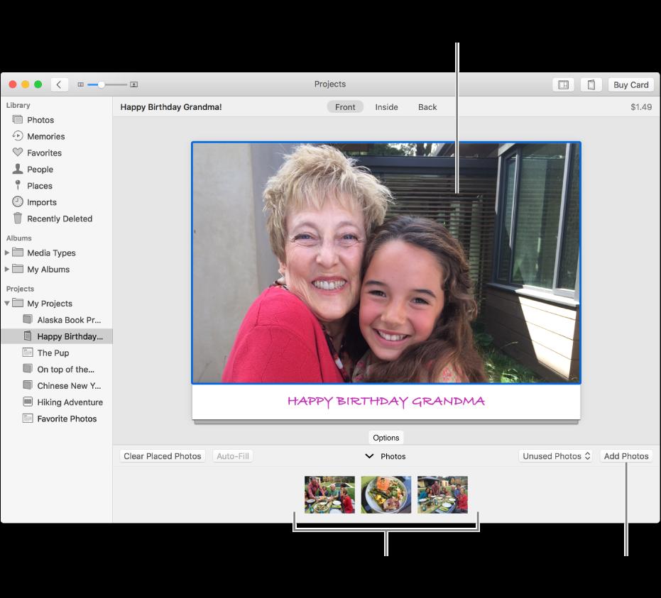 Kortti, jonka kuva on valittuna, ja Lisää kuvia -painike alaoikealla.