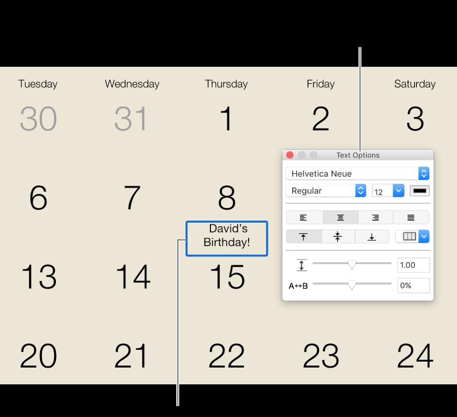 Kalenterin päivämäärä, johon on lisätty tekstiä, ja Tekstivalinnat-ikkuna oikealla.