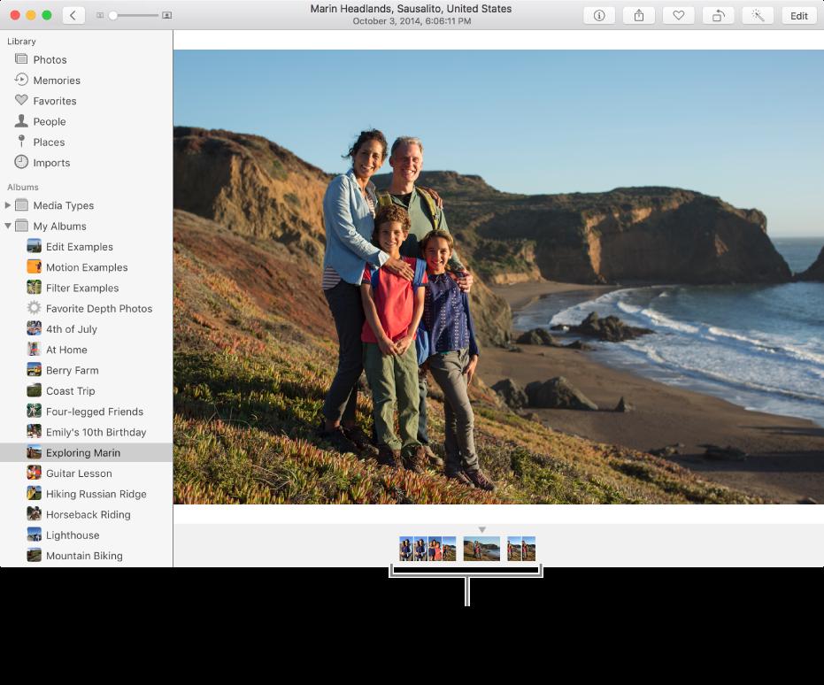 Fenêtre de Photos affichant des photos appartenant au même album ou à la même collection sous une photo.