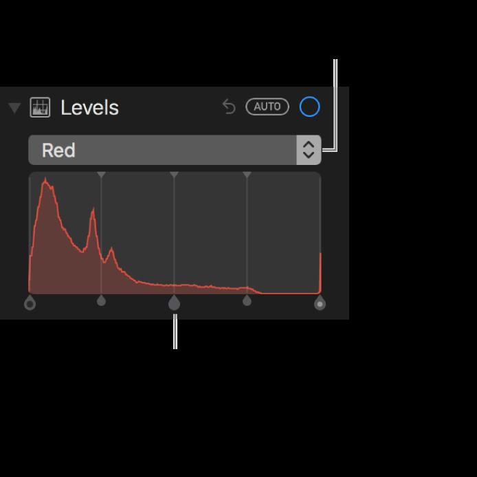 Commandes de niveaux et histogramme permettant de modifier les rouges dans une photo.