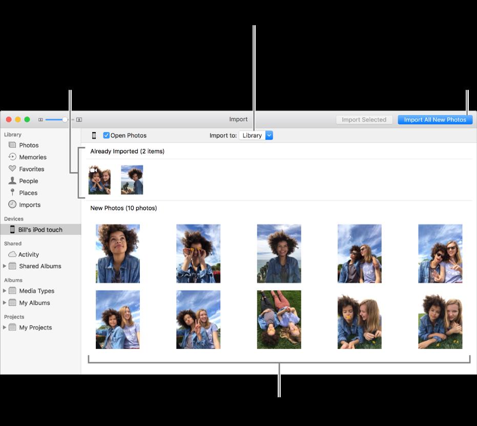 Les photos présentes sur l'appareil que vous avez déjà importées apparaissent en haut de la sous-fenêtre. Les nouvelles photos apparaissent en bas. En haut et au centre se trouve le menu local «Importer vers». Le bouton Importer toutes les nouvelles photos se trouve en haut à droite.