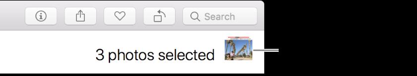Indicateur de sélection indiquant trois photos sélectionnées.