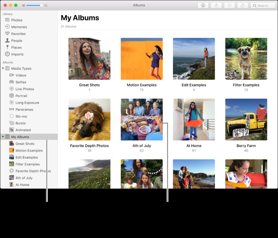 A Fotók ablaka; a Saját albumok ki van jelölve az oldalsávon, a létrehozott albumok pedig a jobb oldali ablakban láthatók.