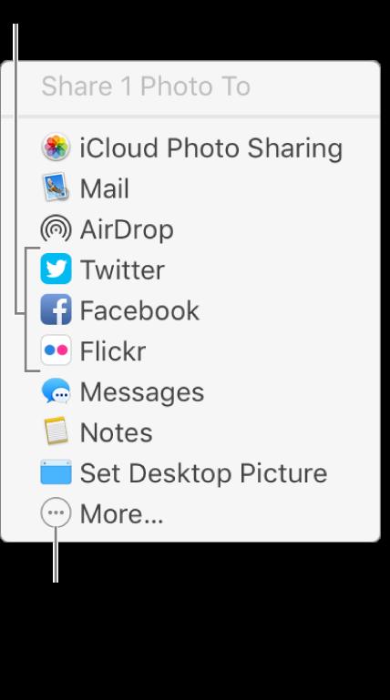 A Megosztás menü olyan külső bővítményekkel, mint a Flickr.