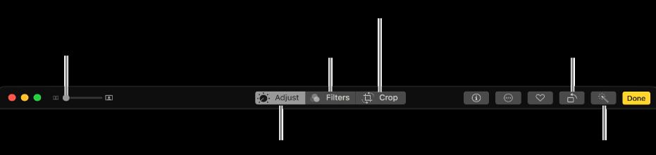 Bar alat pengeditan menampilkan tombol untuk menampilkan pilihan penyesuaian, filter, dan pemotongan.