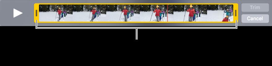 Pengendali pemangkasan kuning dalam klip video