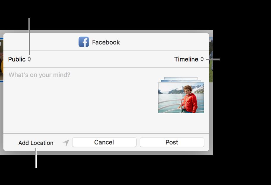 Dialog berbagi Facebook.