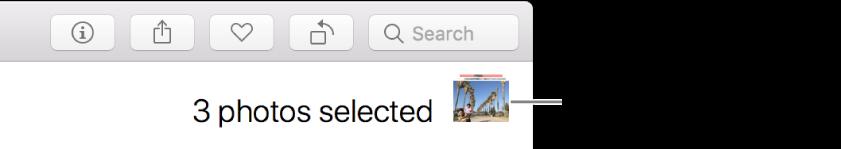 Indicatore di selezione che indica la selezione di tre foto.