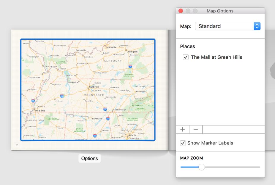 """Una mappa in un fotolibro con il pulsante Opzioni al di sotto e la finestra """"Opzioni mappa"""" aperta a destra."""