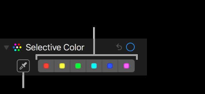 """Controlli """"Colore selettivo"""" con il pulsante Contagocce e i riquadri colori."""